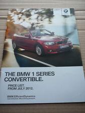 BMW 1 Series Convertible LISTINO PREZZI AUTO opuscolo luglio 2012