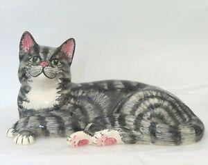 Babbacombe Pottery Large Cat   Grey Tabby