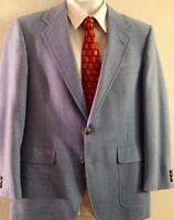 Hart Schaffner Marx Golden Bear 40R Blue Wool Mens Jacket Sport Coat Blazer Vtg.