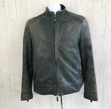Hugo Boss Goat Nappa Men's Leather Jacket Sz 46 Dark geen