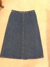 Casual Corner Petite Size 10 Long Denim Skirt Modest EUC Blue Jean