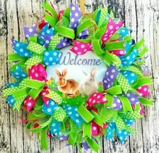 Spring Front Door Welcome Wreath, Bunny Porch Decor, Spring Decoration, Easter