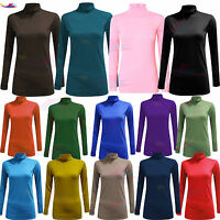 WOMENS LADIES LONG SLEEVE POLO NECK ROLL NECK TOP TURTLE NECK STRETCH Jumper