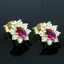 9ct Yellow Gold Synthetic Ruby and Cubic Zirconia  Stud Earrings