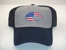 COSTA DEL MAR USA FLAG UNITED TRUCKER ADJUSTABLE MESH HAT NAVY GRAY 51N NEW  TAG 3e3b32abf5eb
