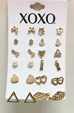 XOXO SET OF 12 PAIRS GOLD TONE,STAR,KEY,BUTTERFLY,HEART,PEARL,WING,LOVE,EARRINGS