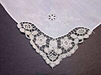 Antique White Never Used Belgium Duchesse needle point lace Hanky Handkerchief