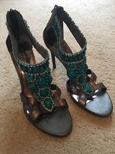 Carlos Santana High Heel Stiletto Jewelled Sandals - Size 6