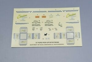 Revell 1/25 1937 FORD PICKUP DECAL SHEET