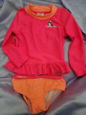Carter's 24 Months Girls Bathing Suit Pink Orange Mermaid rashguard style top