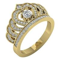 Solitaire Crown Anniversary Ring SI1 G 1.00 Ct Round Diamond 14K Gold 12.70 MM