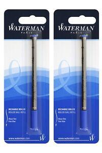 2 Genuine Waterman Rollerball Pen Refills, Fine Point, Sealed Packs