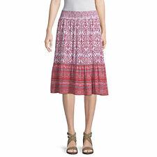 NWT $ 32 st. john's bay red geo print skirt medium