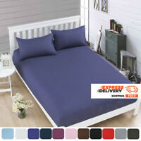 Fitted Bed Sheets 100% Cotton & Poly Solid Single Double King Size Pillowcases