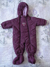 Winter Purple Baby toddler snowsuit all in one hood size 68 Uk size 6 months