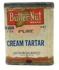 Antique/Vintage BUTTER-NUT Spice Tin/Cardboard Box, Cream Tartar, Paper Label