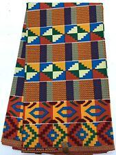African Kente Print Fabric/African Clothing/Orange, Yellow, Blue, Green