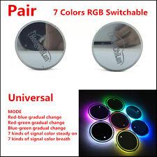 2pcs (65mm) USB Charge Switchable 7 Colors RGB LED Car Cup Holder Bottom Pad Mat