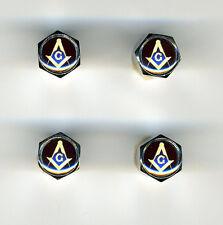 Masons 4 Chrome Plated Brass Tire Valve Caps Car & Bike Featuring Masons