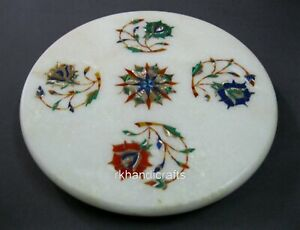 09 Inches Marble Cheese Board Colorful Flower Art Tortilla Maker for Kitchen
