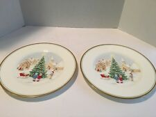 MINT-Lot of 2 MIKASA BONE CHINA MERRY CHRISTMAS Dinner Plates 10 3/4""