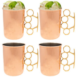 Copper Moscow Mule Mugs Set of 4 Brass Knuckles 20oz Old Dutch Nickel Plated