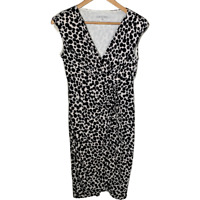 Maggy London Womens Sheath Dress V Neck Stretch Black White Print Ruched Size 6
