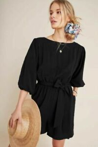 Anthropologie Womens Romper Size M Francesca Black Belted Pockets Texture Fabric