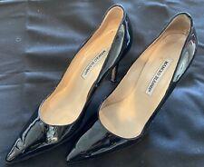 Manolo Blahnik Black Patent Stiletto Pumps BB Shoes U.S. 8 EUR 38.5