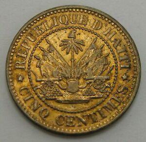 HAITI 5 Centimes 1863 HEATON - Bronze - VF/XF - 1148
