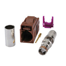 """Fakra code """" F"""" Jack female connector Brown /8011 for TV2 cable mount for RG58"""