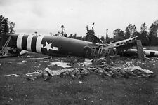 WWII B&W Photo D-Day Glider Crashed  WW2 World War Two Normandy France /1071