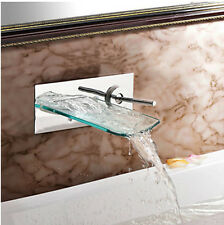 Waterfall Glass Spout Bathroom Basin Mixer Tap One Handle Wall Mount Sink Faucet