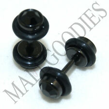 0293A Fake Cheaters Faux Illusion Plugs 16G Look 4G 5mm Steel Black CZ Ear Stud