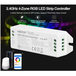 FUT037 (Upgraded) 2.4GHz 4-Zone RGB LED Strip Controller DC12V~24V Dimmable