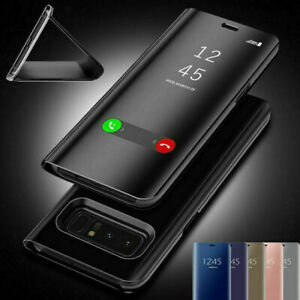 Mirror Flip Leather Phone Case Smart Stand Cover for Samsung S20 S20+ S21 Ultra