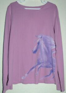 Perfect Youth Girls Size 10 - 12 Land's End Purple Graphic Horse Long Sleeve Tee