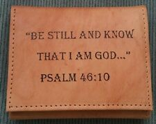 Men's Christian BE STILL KNOW I'M GOD Tan Brown GENUINE LEATHER TRI-FOLD Wallet