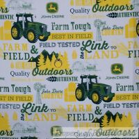 BonEful FABRIC FQ Cotton Quilt White Green John Deere Tractor Tree Farm Word Boy