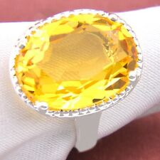 New Arrive Classic Oval Fire Royal Citrine Gemstone 925 Silver Rings Size 7 8 9