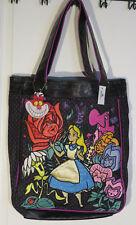 NWT Black Denim Disney Parks ALICE IN WONDERLAND Embroidered LOUNGEFLY Tote Bag