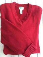 Men's LL Bean V Neck 100% Cotton Sweater Berry Red Size XL