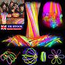 """100/500 8"""" Glow Sticks Bracelets Necklaces Neon Colors Party Favors Disco Rave"""