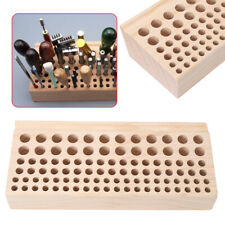 98 Holes Leather Craft Tool Wood Tool Rack Wooden Stamps Storage Stand Holder