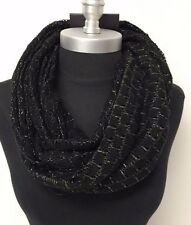 New Women's fashion Soft Knit Shiny Black 2-circle Cowl long Infinity Scarf Wrap