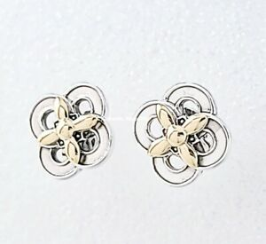 New 100%  PANDORA 925 & 14k Gold Two-tone Flower Stud Earrings 299349C00