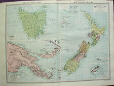 1920 LARGE MAP ~ TASMANIA & NEW GUINEA ~ NEW ZEALAND FIJI ISLANDS SAMOA