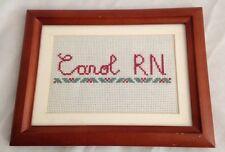 """Crossstitch 6 1/4 X 8 1/4"""" Sign: Personalized CAROL RN - Nurse"""