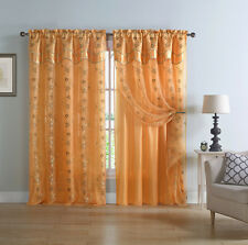 Two Panel Orange and Gold Double Layer Embroidered Window Curtain: Floral Design