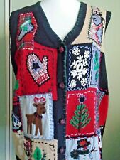 Christmas waistcoat embroidered applique vintage Victoria Jones XL jumper 16 18